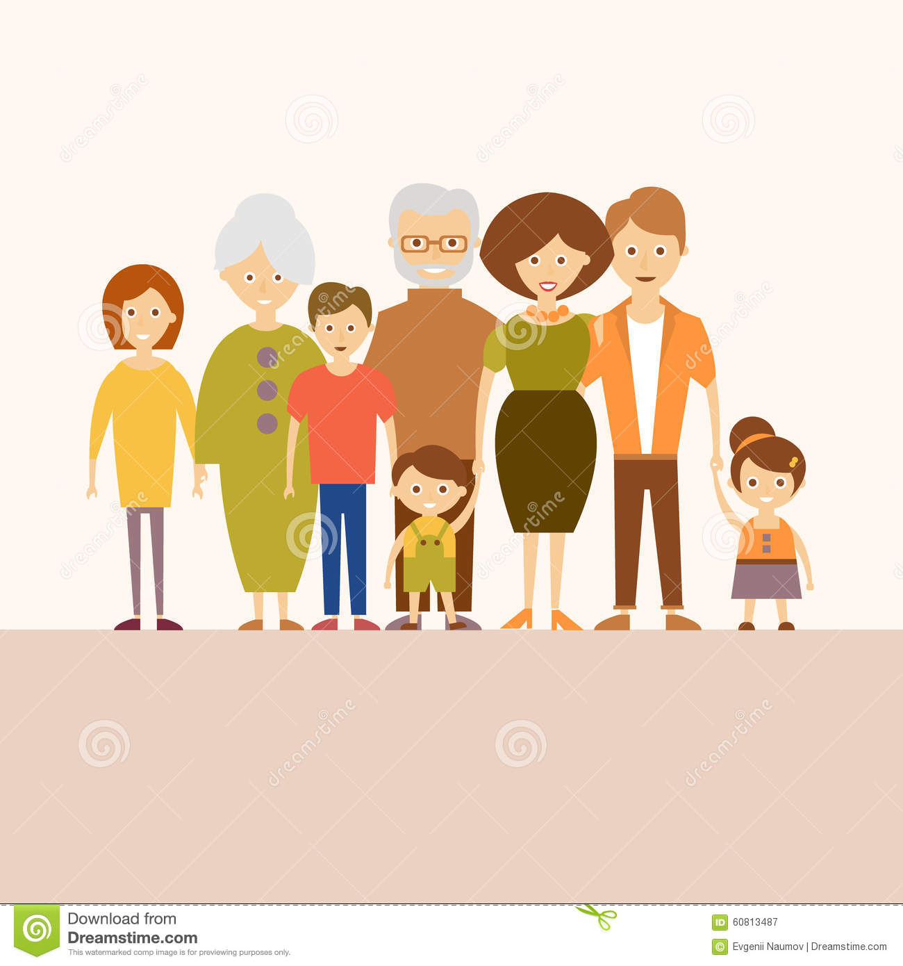 Big Nuclear Family Vector Illustration In Flat Stock Vector