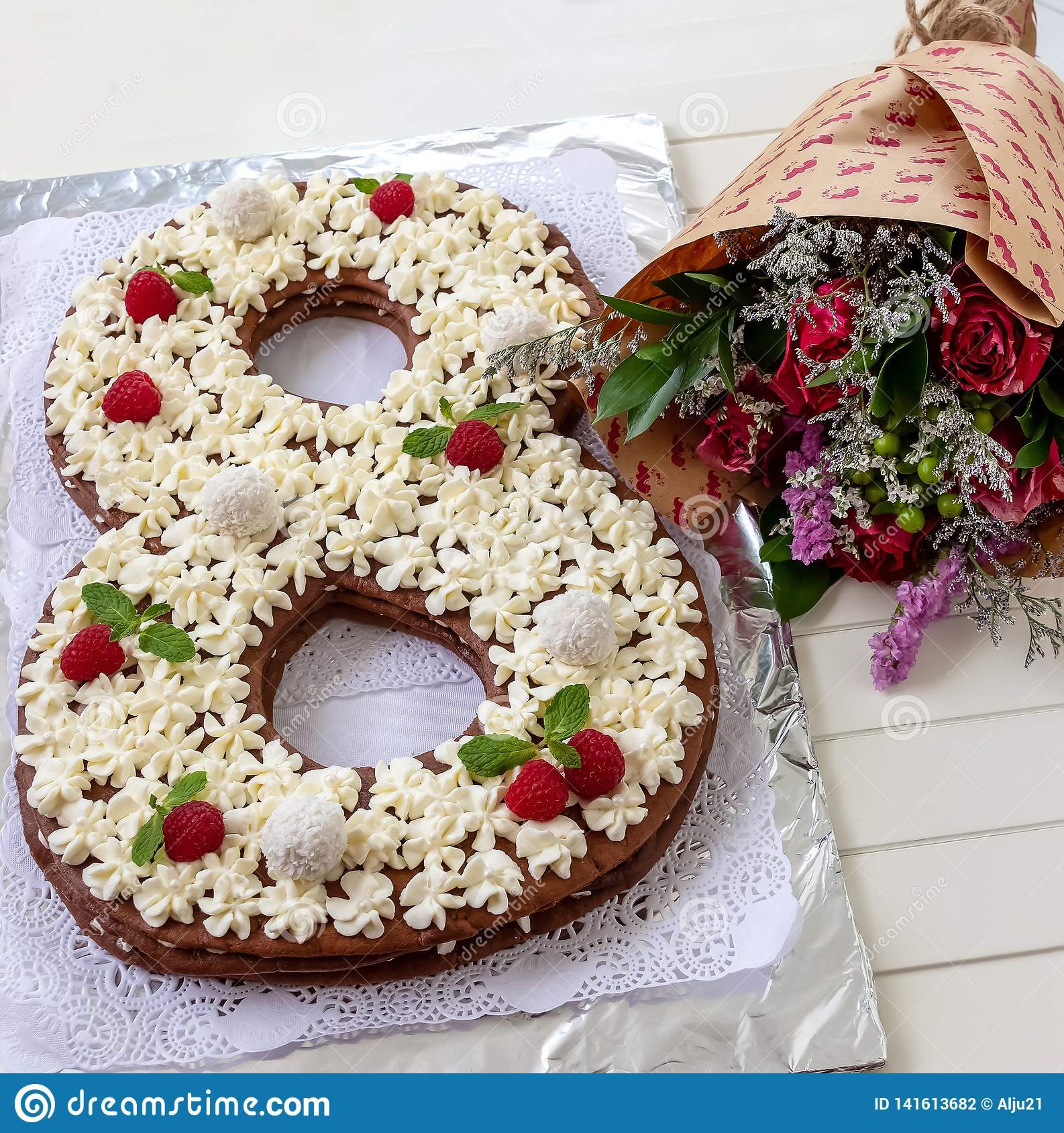Big Number Cake And Red Rose Flower Shape Of 8 Decorated White Creamcheese Raspberry Coconut Candy