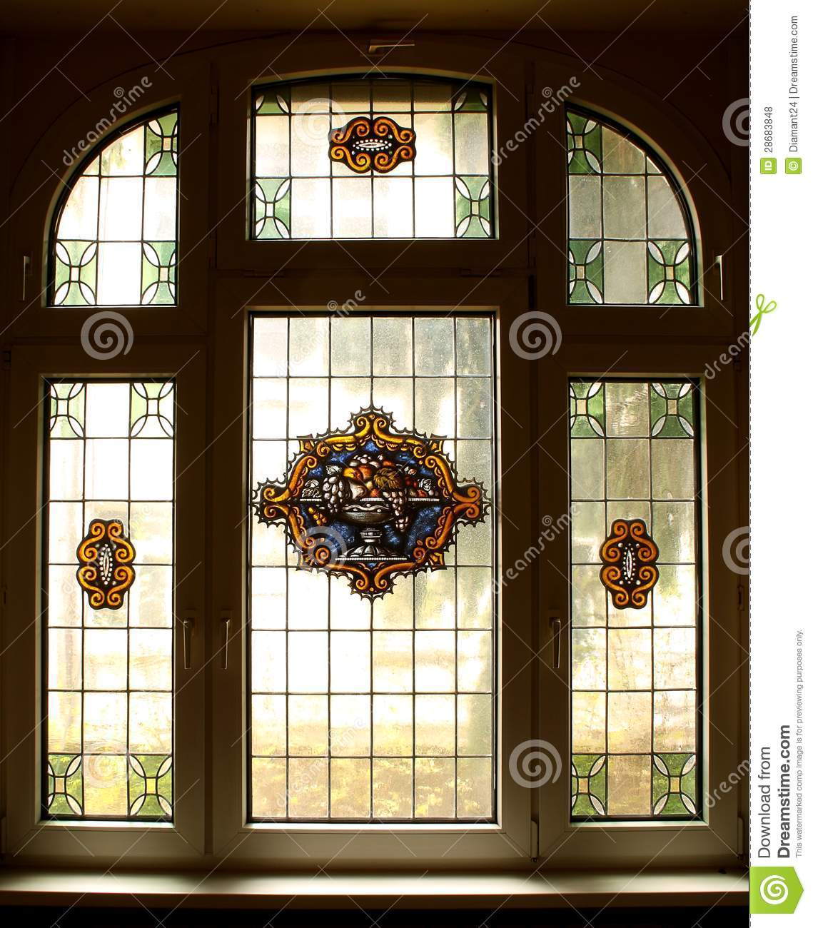 Big Old Window With Beautiful Colored Murals Royalty Free