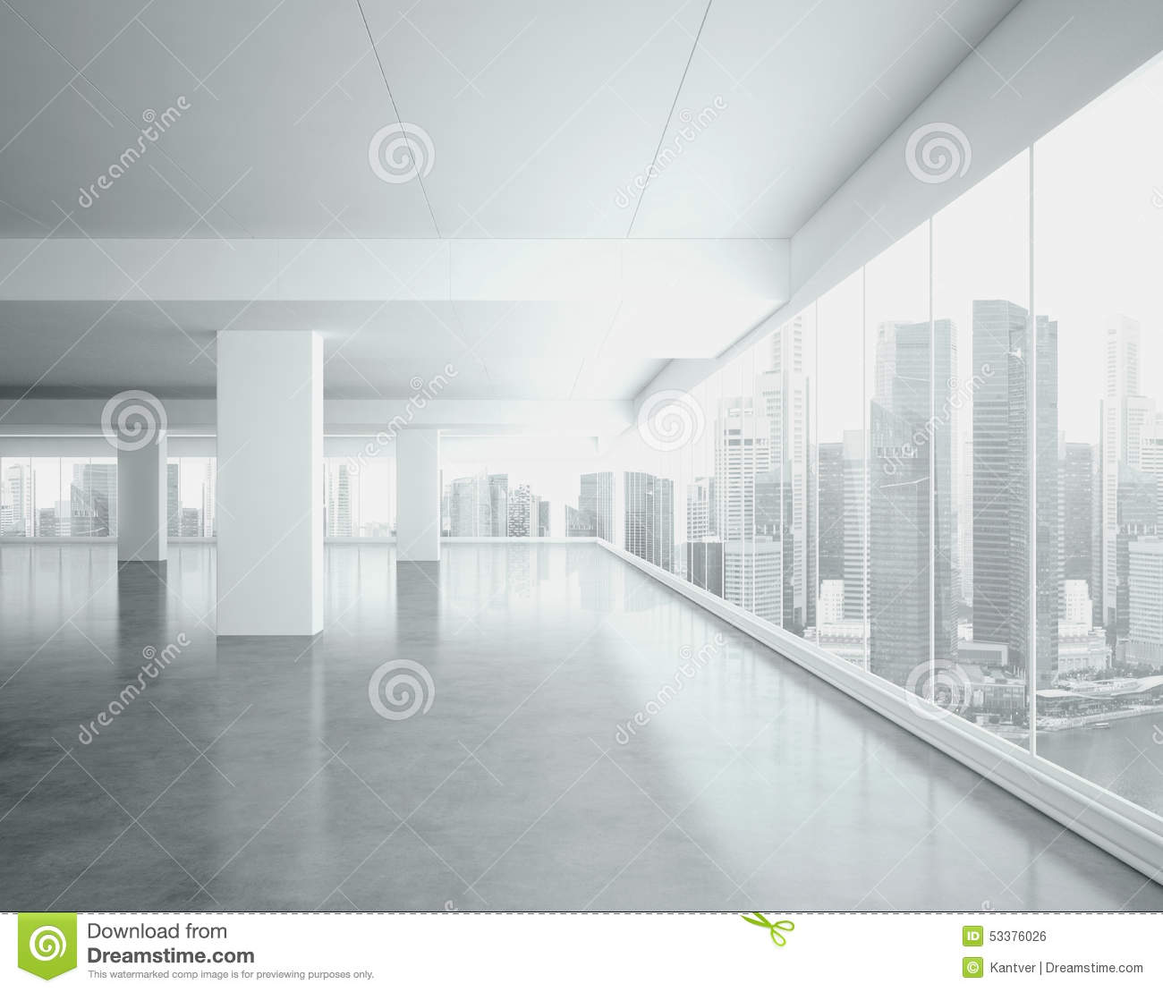 Interior office windows - Big Open Space Interior 3d Render Royalty Free Stock Image