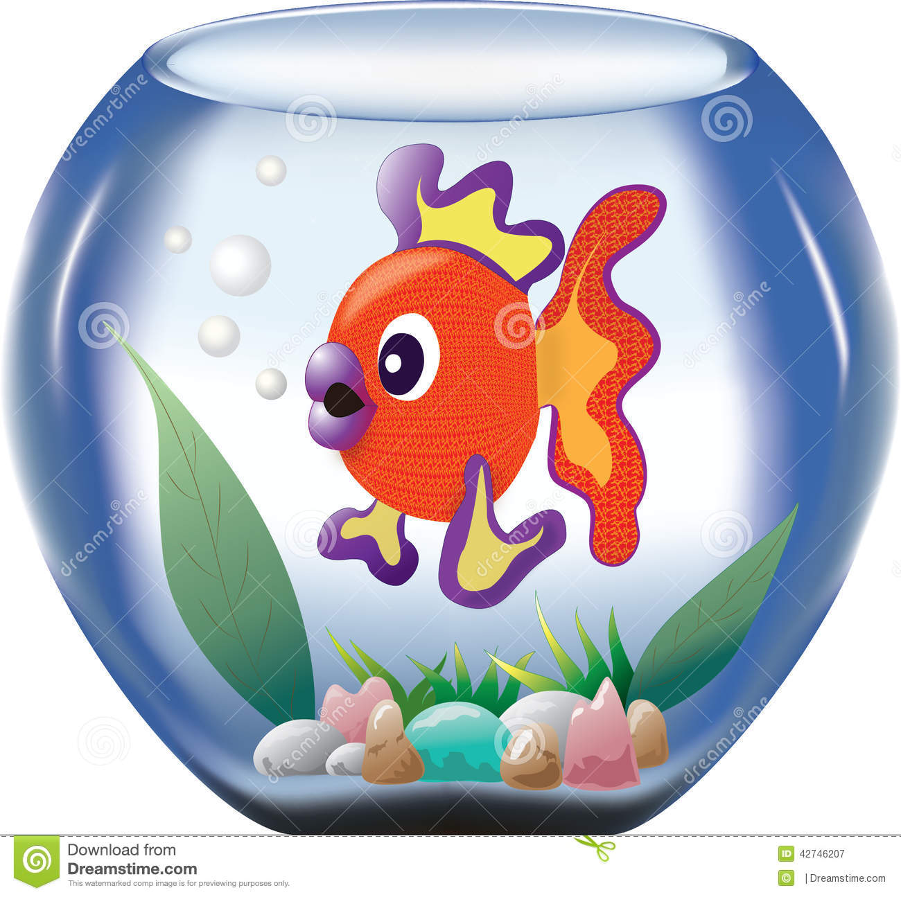 Big orange fish in a bowl stock illustration. Illustration of ...