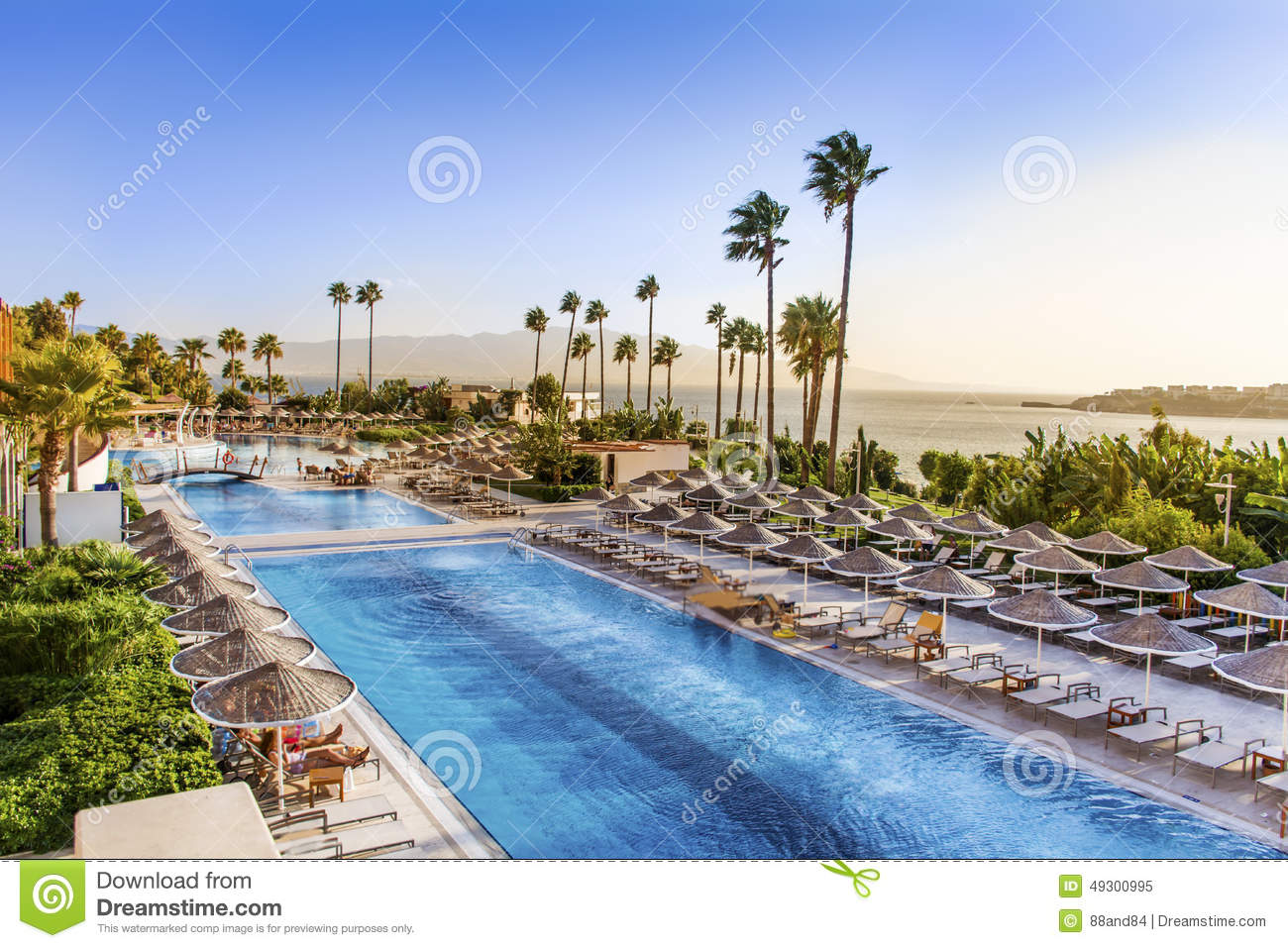 Big outdoor pool with palms and sea in background sunset sky for Big outdoor pool