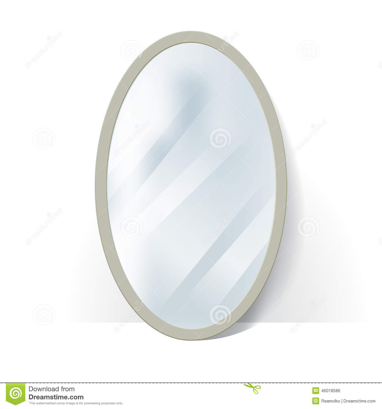 Big oval mirror with blurry reflection stock vector for Reflection miroir