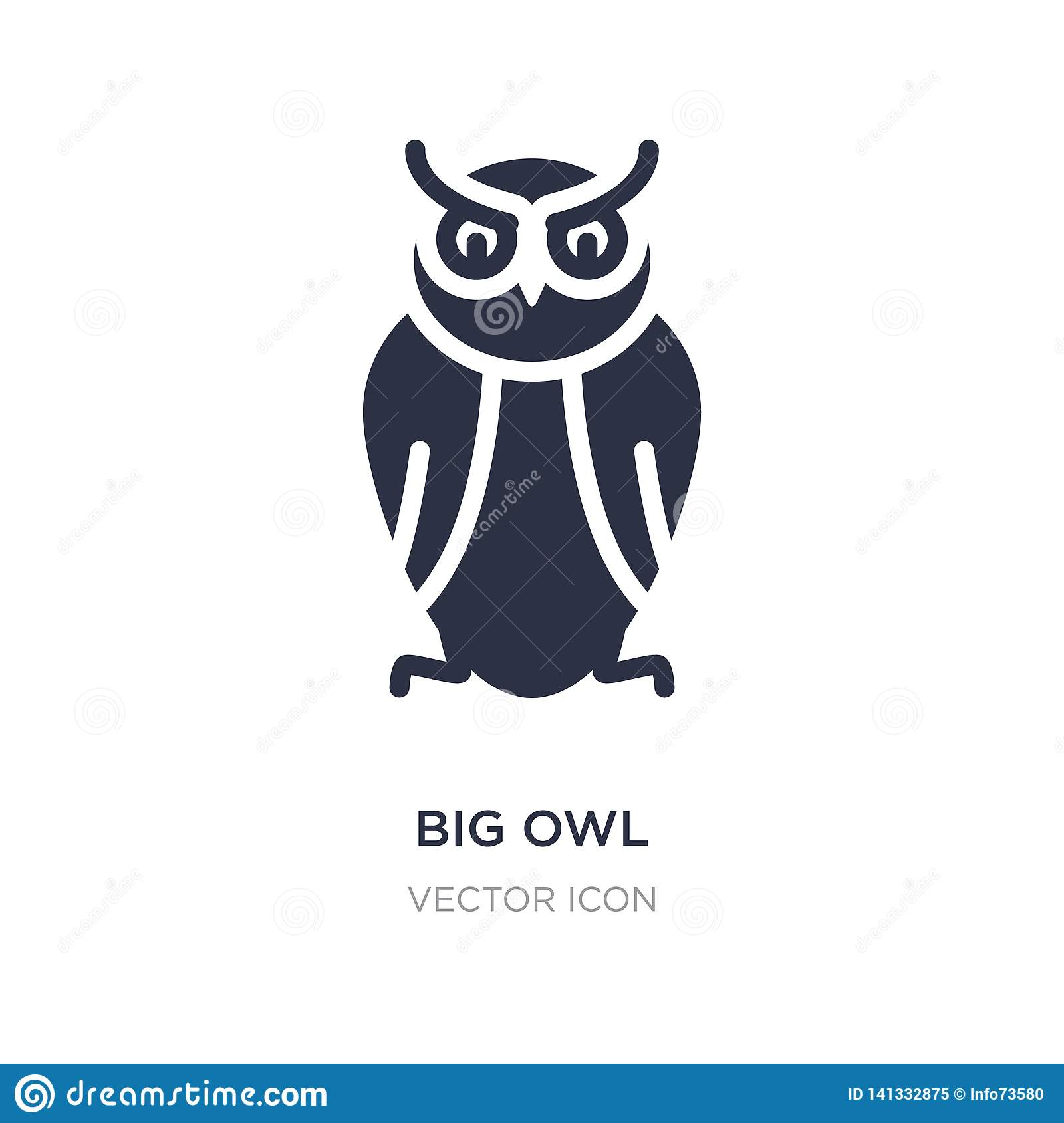 big owl icon on white background. Simple element illustration from Animals concept