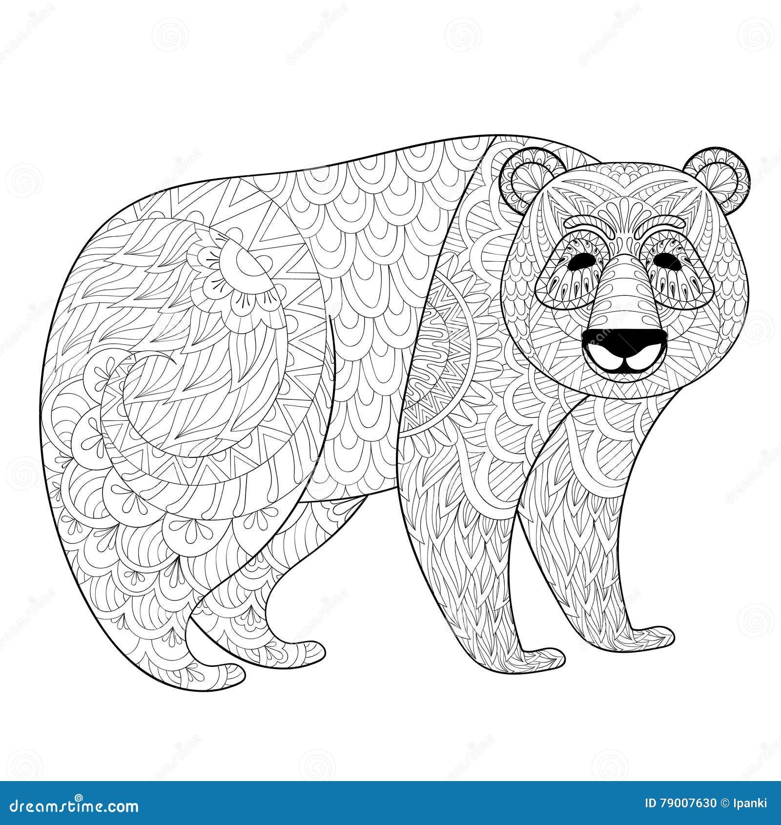 Big Panda In Zentangle Tribal Style Freehand Ethnic