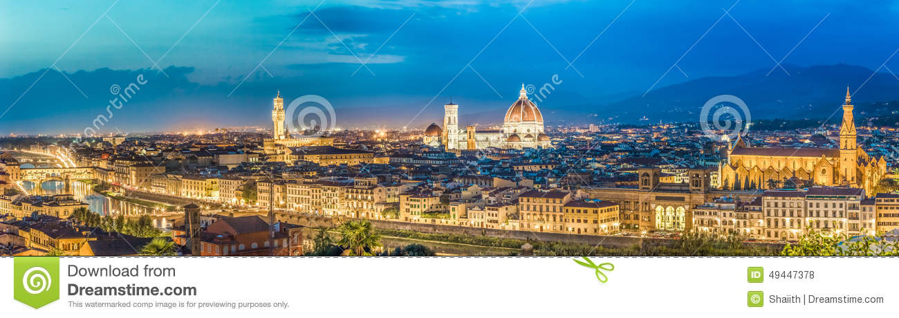 Download Big Panorama Of Florence At Night In Italy Stock Photo - Image of cathedral, sunset: 49447378