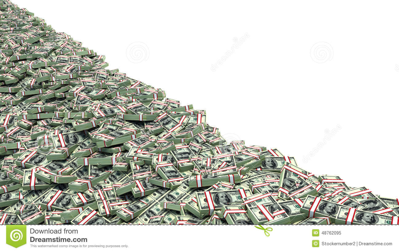 Big Pile Of Money Dollars Over White Background Stock