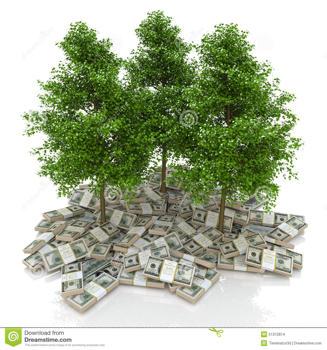 Finance Tree: Big Pile Of Money. Dollars And Tree. Finances Stock