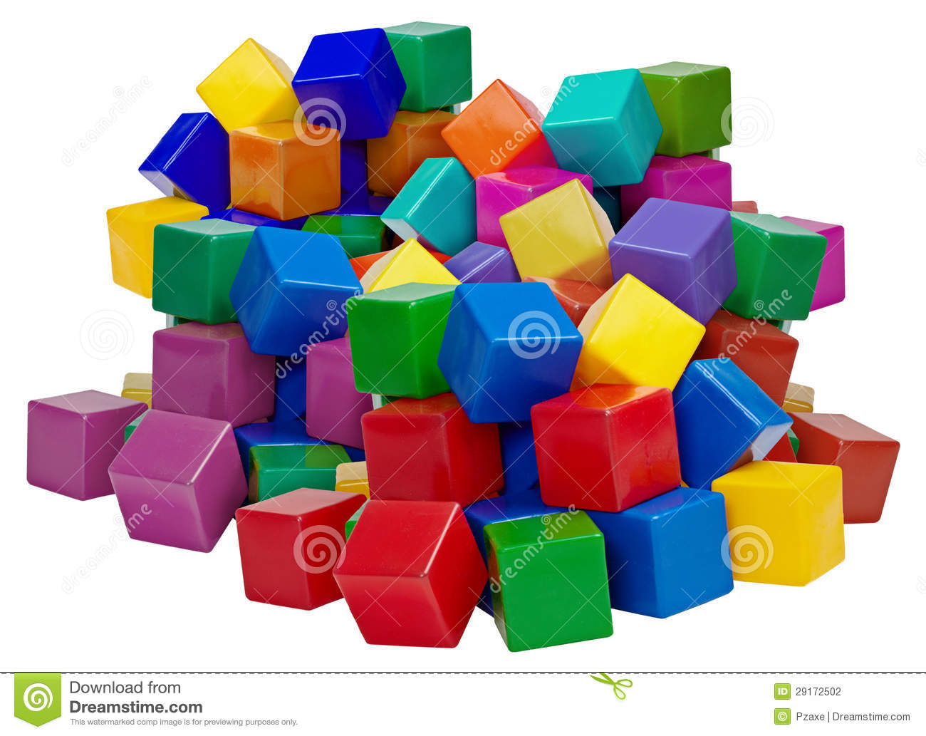 Big pile of plastic blocks isolated on white stock for Large acrylic block