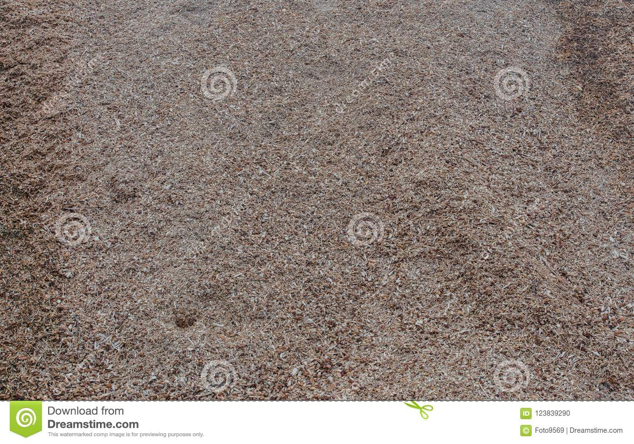 Big pile of wood shavings and wood mulch