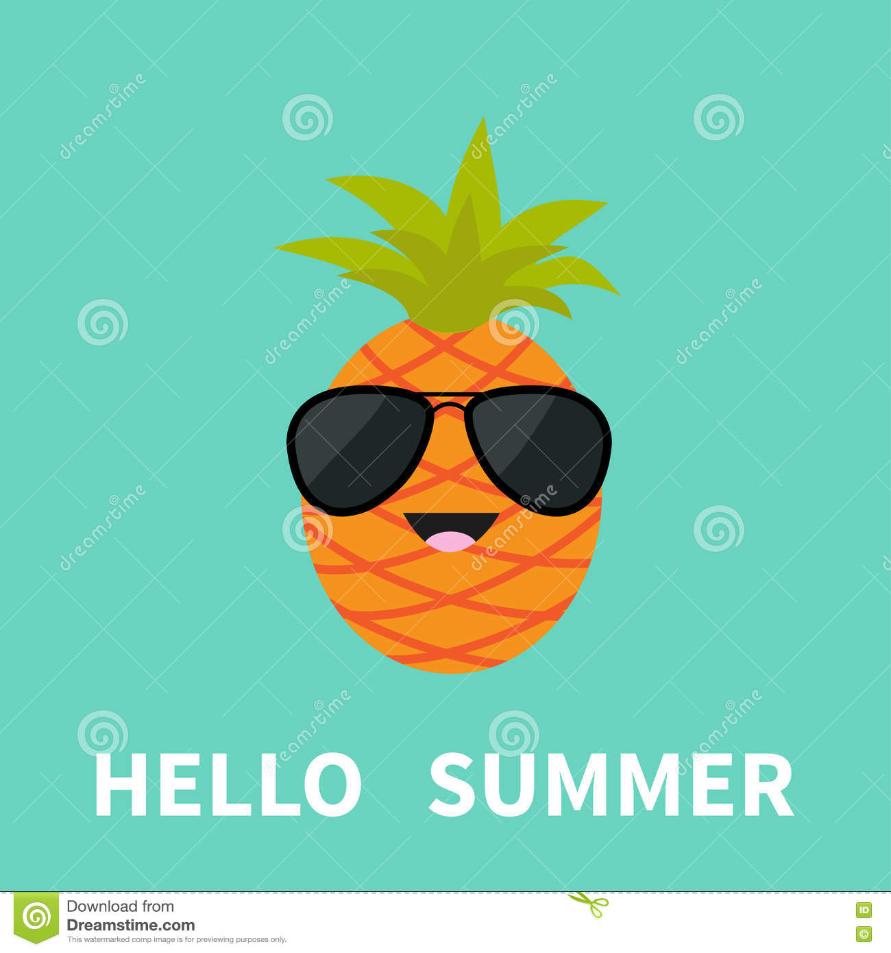 Big Pineapple Fruit With Leaf Wearing Sunglasses Cute Cartoon Smiling Character Hello Summer