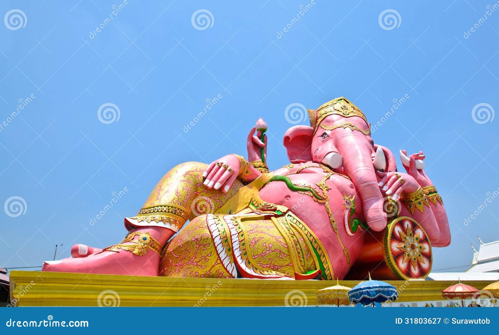 Big Pink Ganesha In Relax Pose Thailand Royalty Free