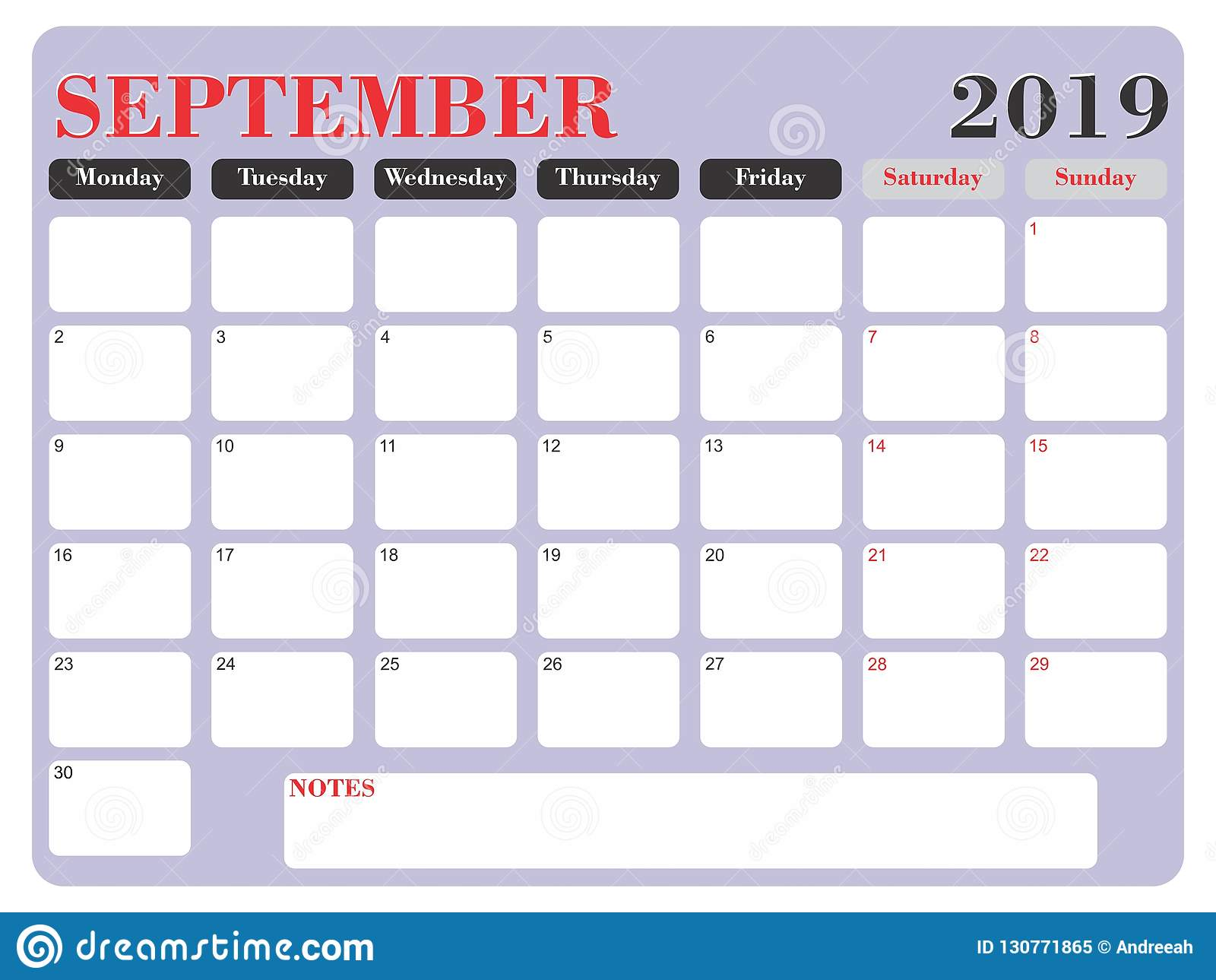 2019 Big Planner Calendar Vector September Stock Vector