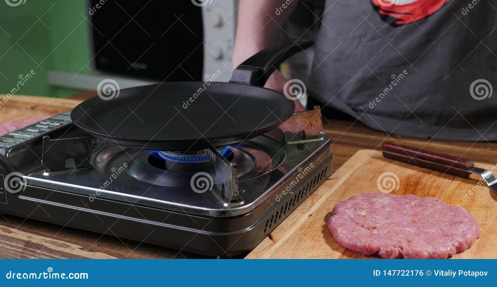 Big pork burger before cooking