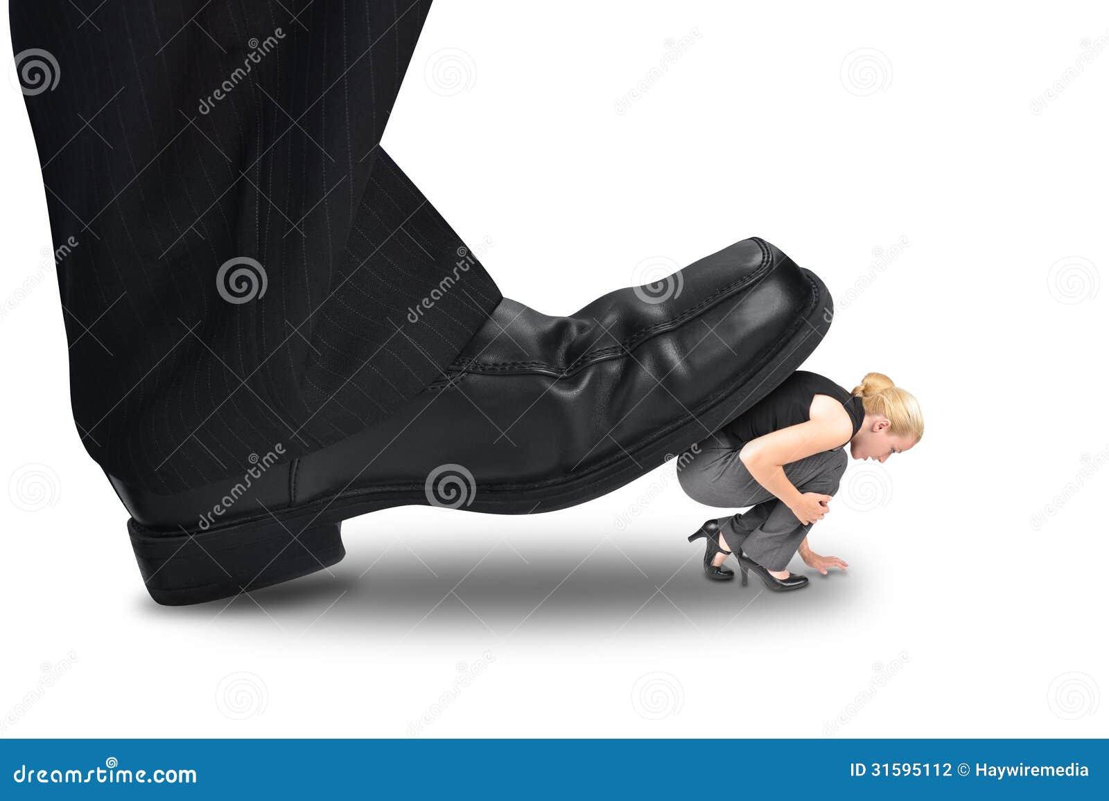 Big Power Boss Stepping On Little Employee Stock Photo ...