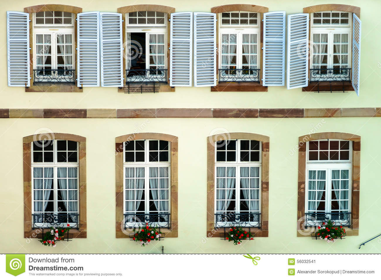 big pvc window with decoration elements in old french