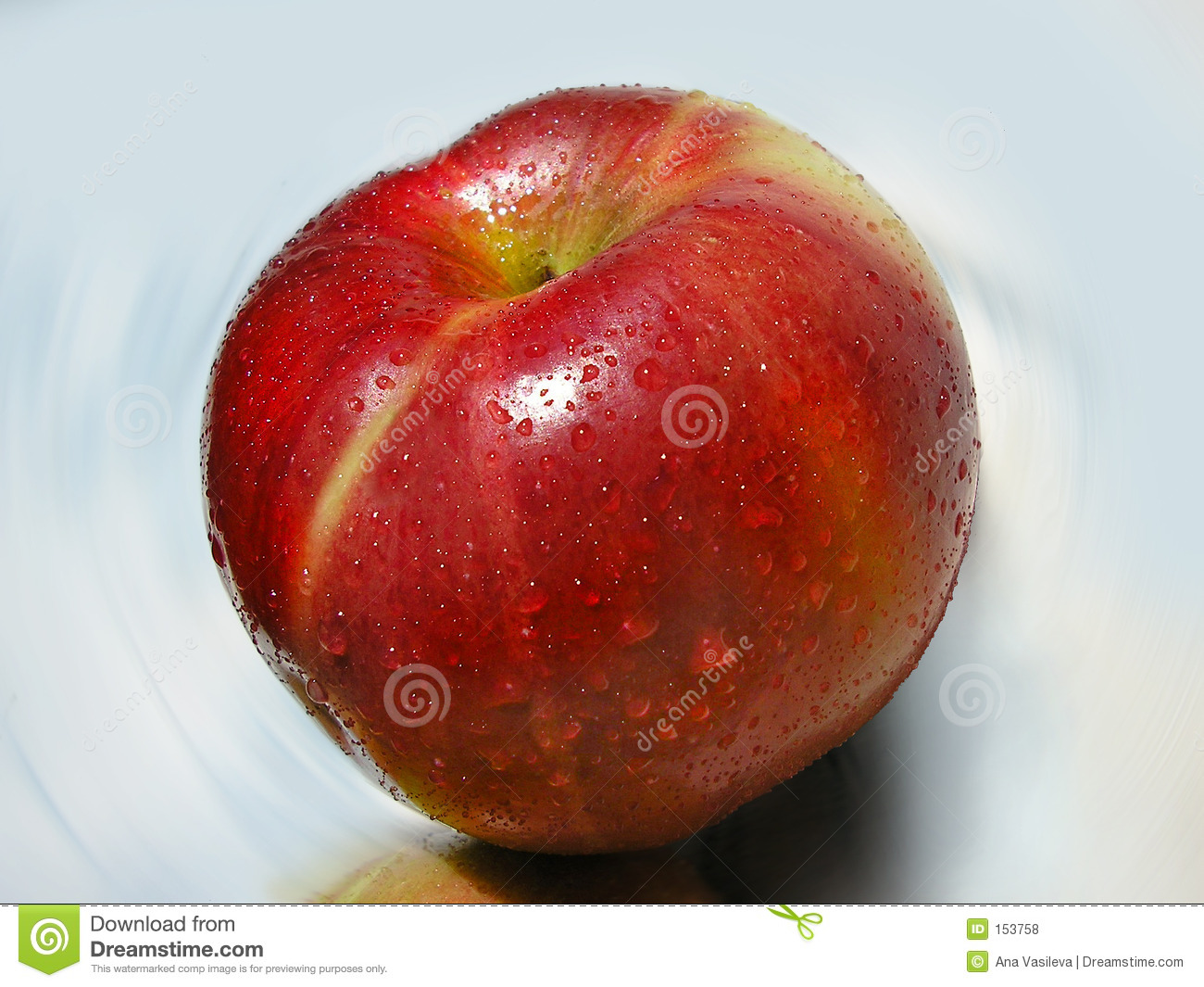 Big Red Apple With Dew