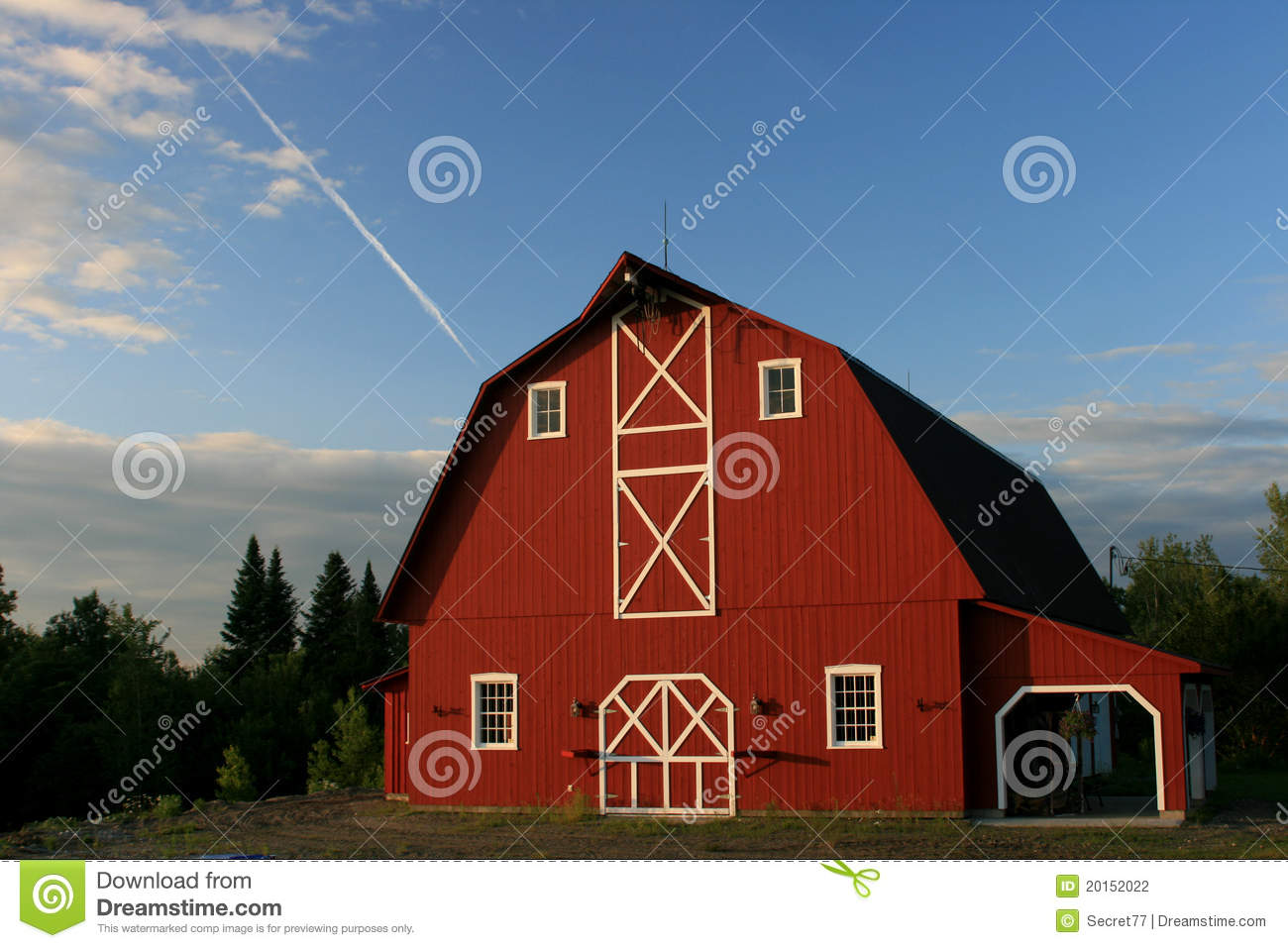 Big Red Barn Stock Photo Image Of Barn White