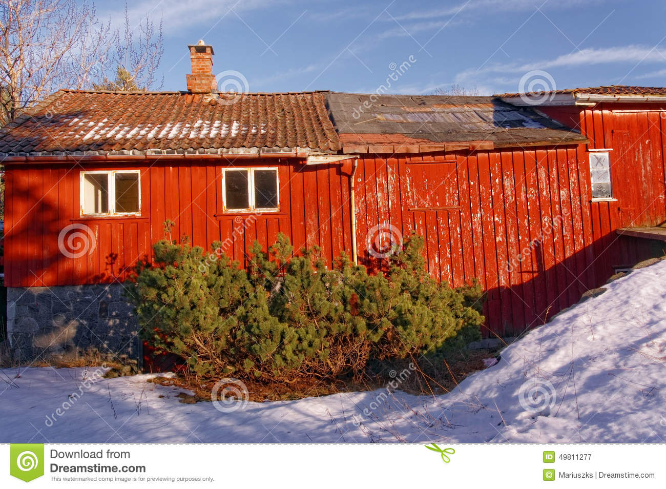 Big Red Barn With Wooden Wall Decor Stock Image Image Of