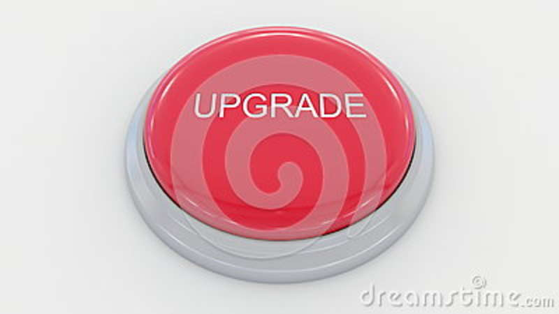Download Big Red Button With Upgrade Inscription Conceptual 3D Rendering Stock Illustration