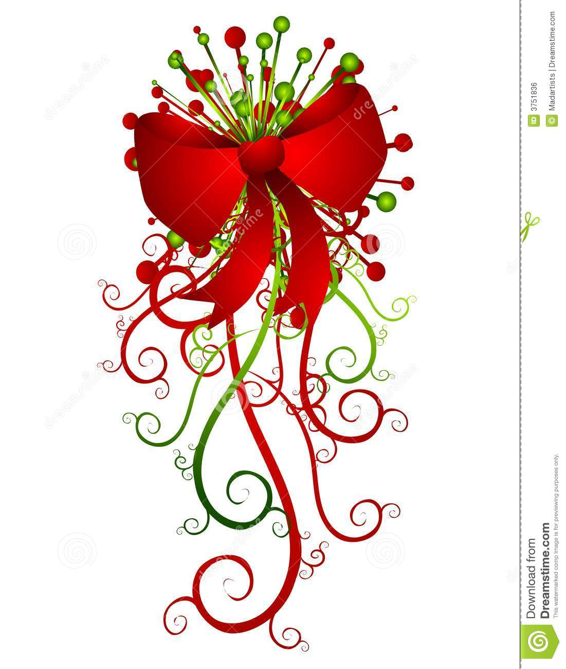Big Red Christmas Bow And Ribbons Royalty Free Stock Image ...