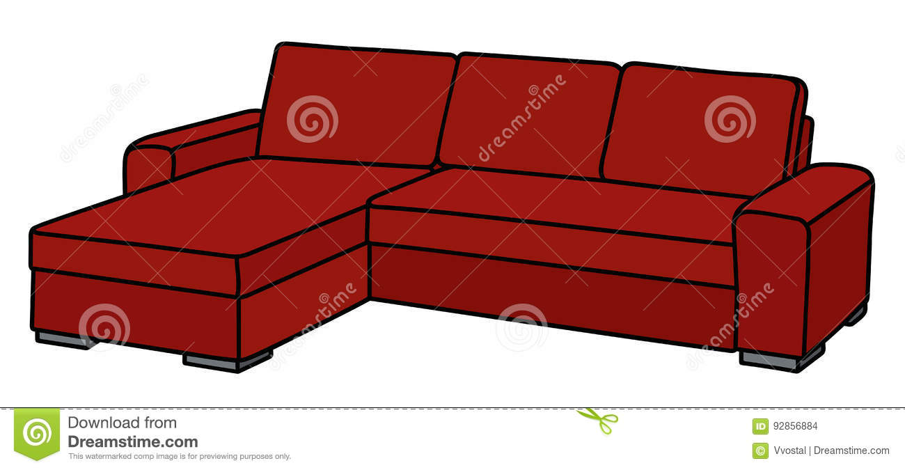 Big Red Couch Stock Vector Illustration Of Couch Cartoon 92856884