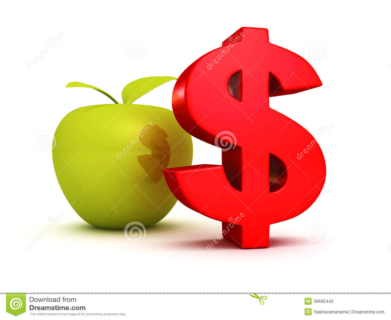 Big Red Dollar Symbol With Green Apple Business Success Stock