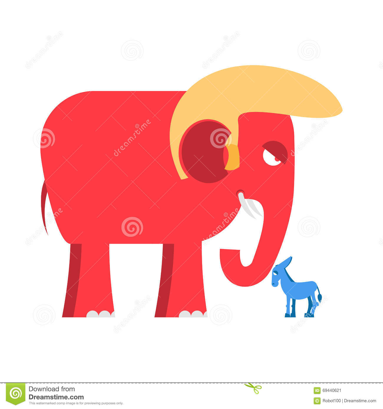 Big Red Elephant And Little Blue Donkey Symbols Of Political Stock