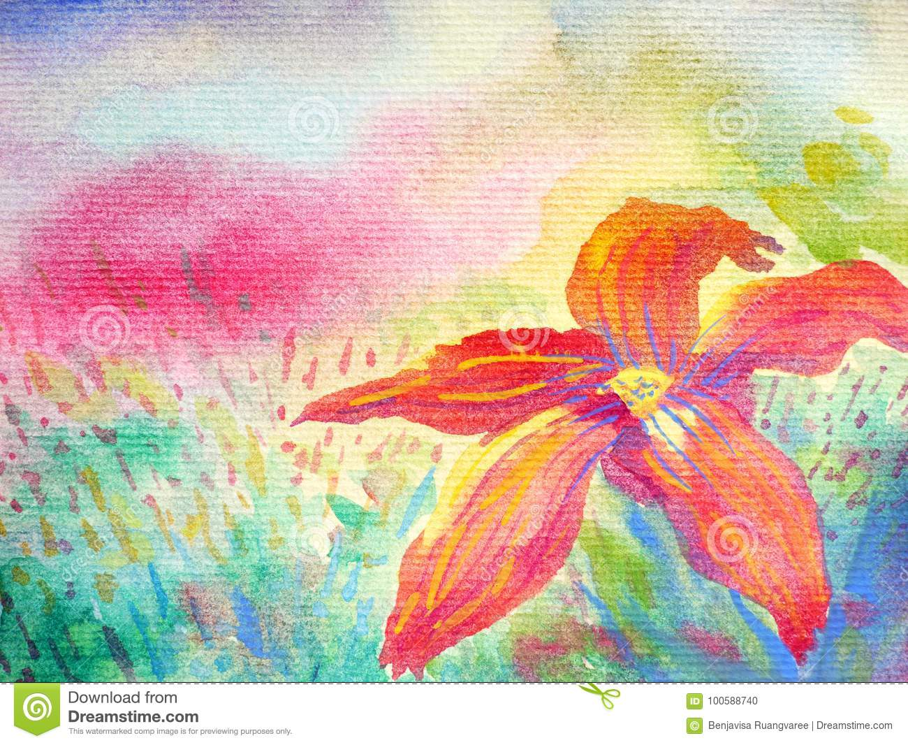 Big red flower in foreground and colorful field sky background