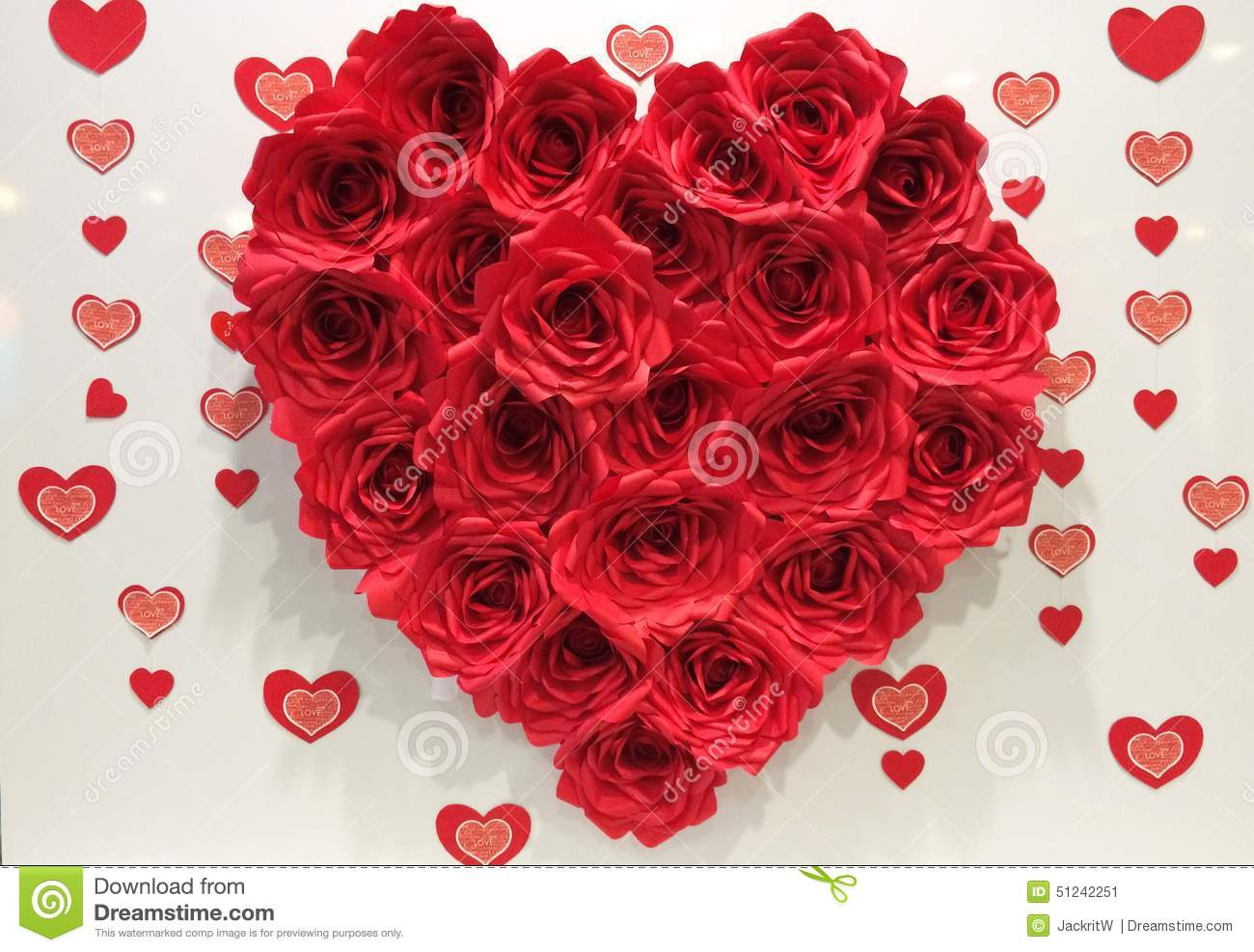 Big Red Heart Made By Paper Red Roses Stock Image Image Of Beauty