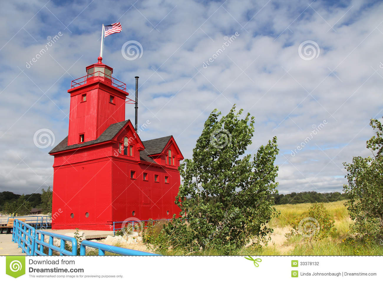Big Red Lighthouse In Holland Michigan Stock Photo Image