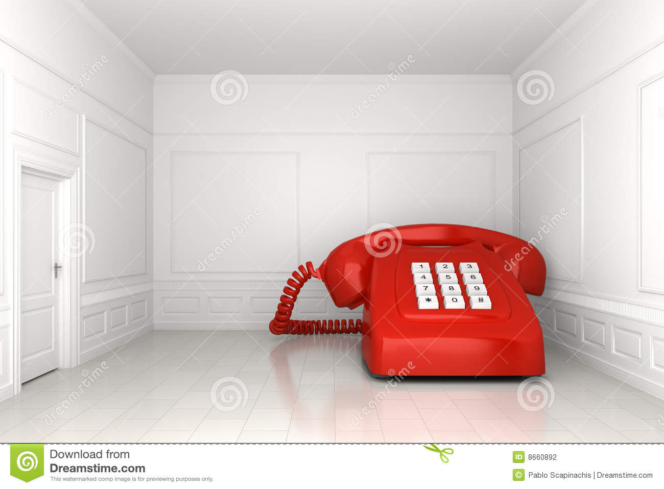 big red phone in white empty room stock photography - image: 8660892