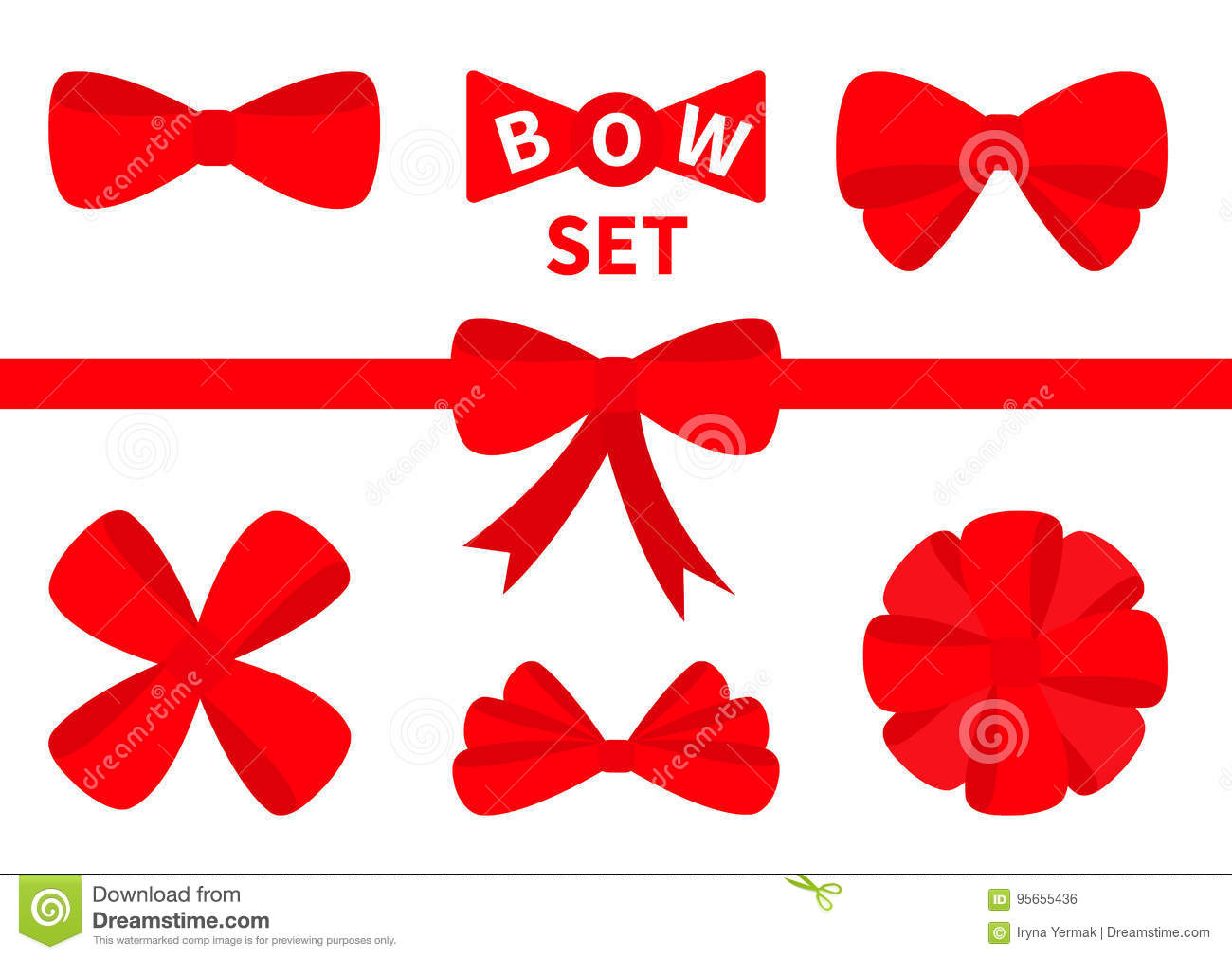 big red ribbon christmas bow icon set decoration element for giftbox present white background