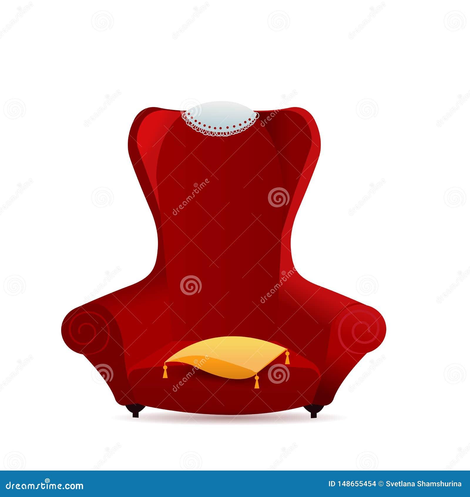 Big Red Velvet Armchair With Yellow Pillow. Cozy Gradient ...