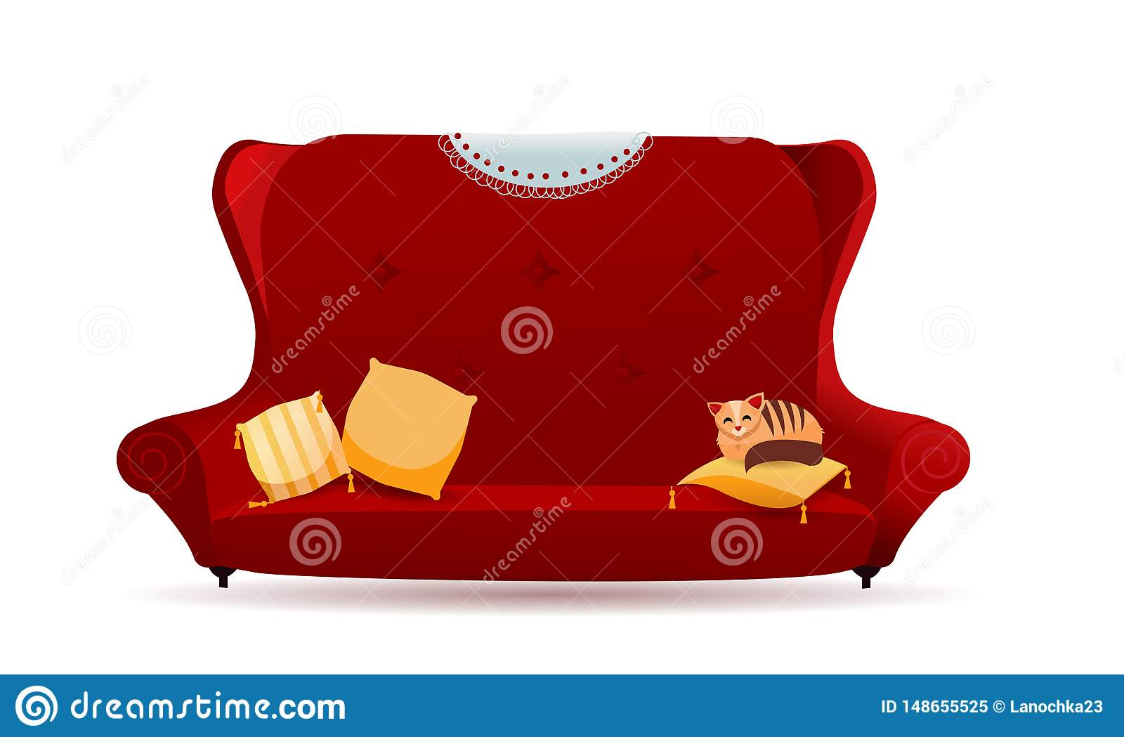 Incredible Big Red Velvet Sofa With Yellow Pillows And Cat Cozy Forskolin Free Trial Chair Design Images Forskolin Free Trialorg