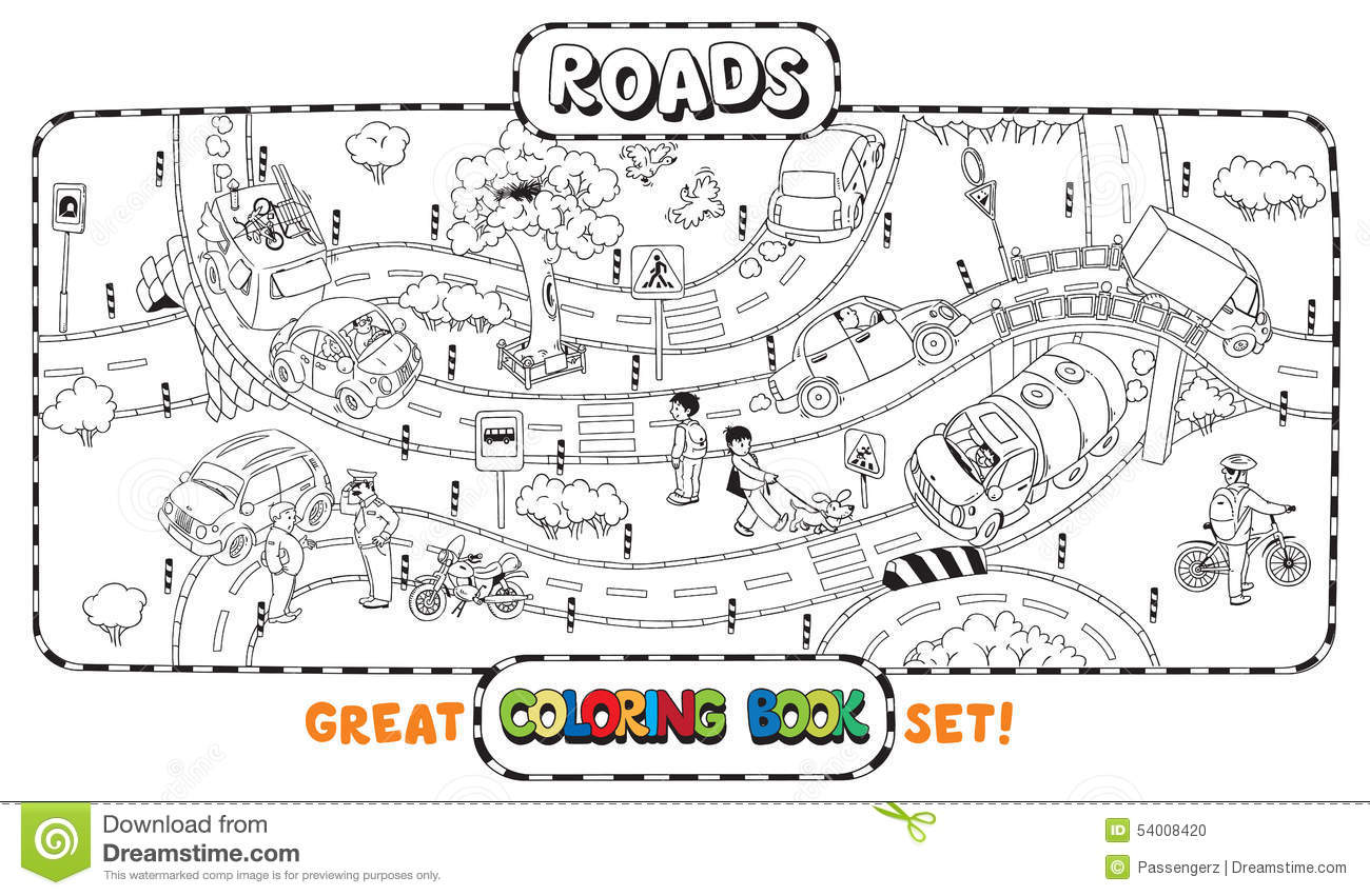 Big Road Coloring Book Stock Vector Illustration Of