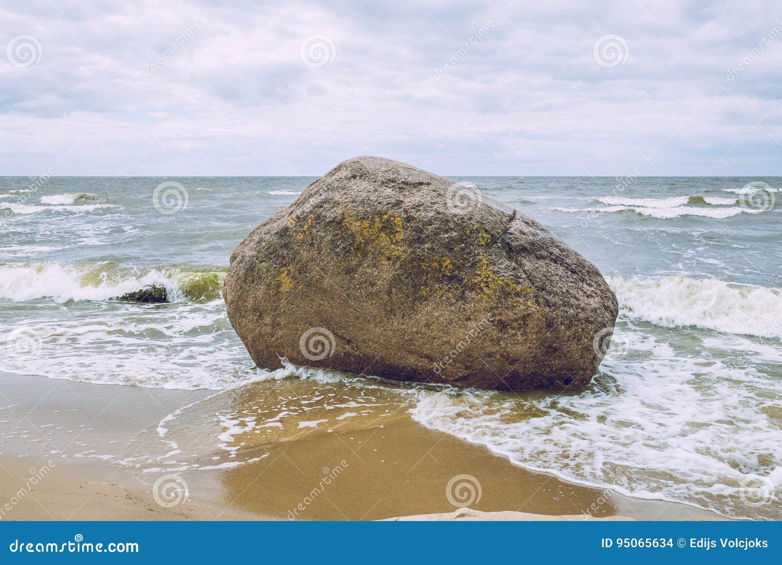 Big rock in Baltic sea, Latvia.