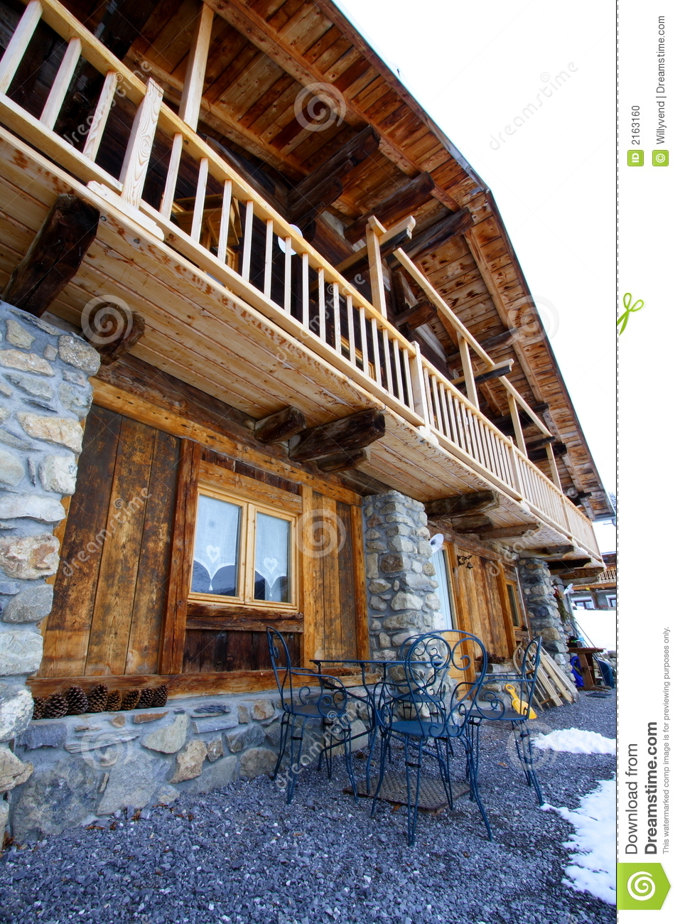 Download Big Rustic Chalet In The Alps Stock Photo - Image of snow, brown: 2163160