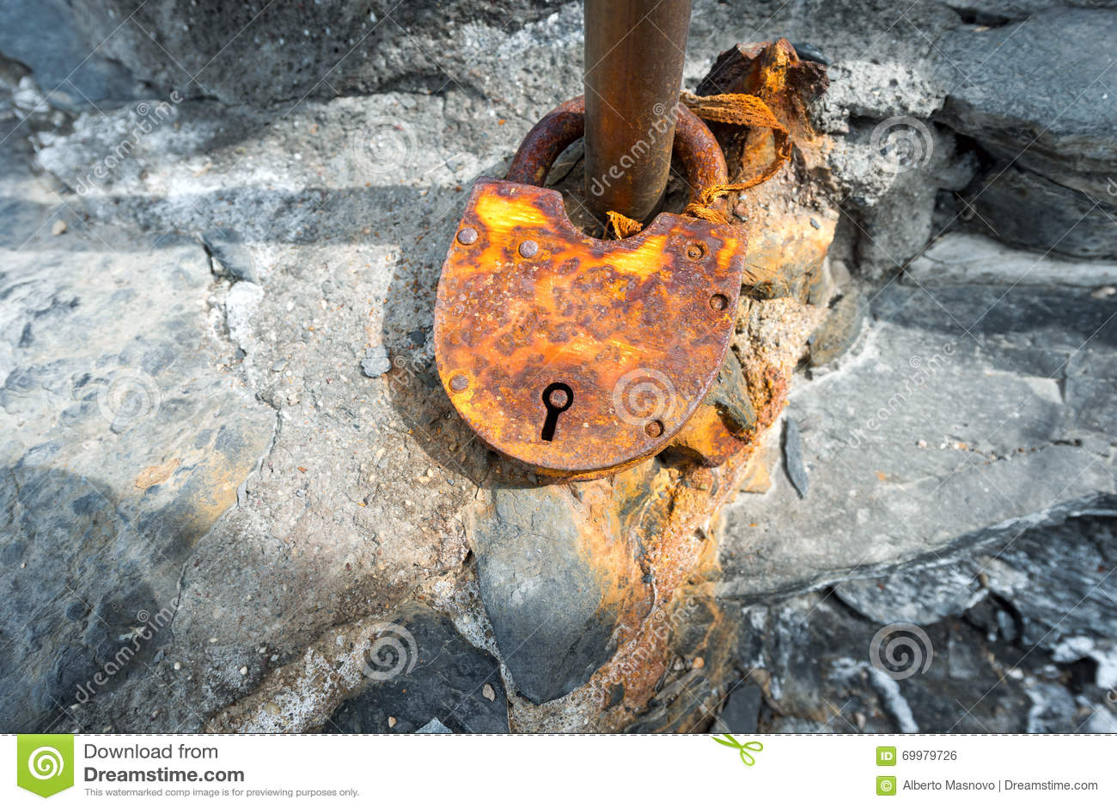 Big Rusty Padlock - Love Symbol