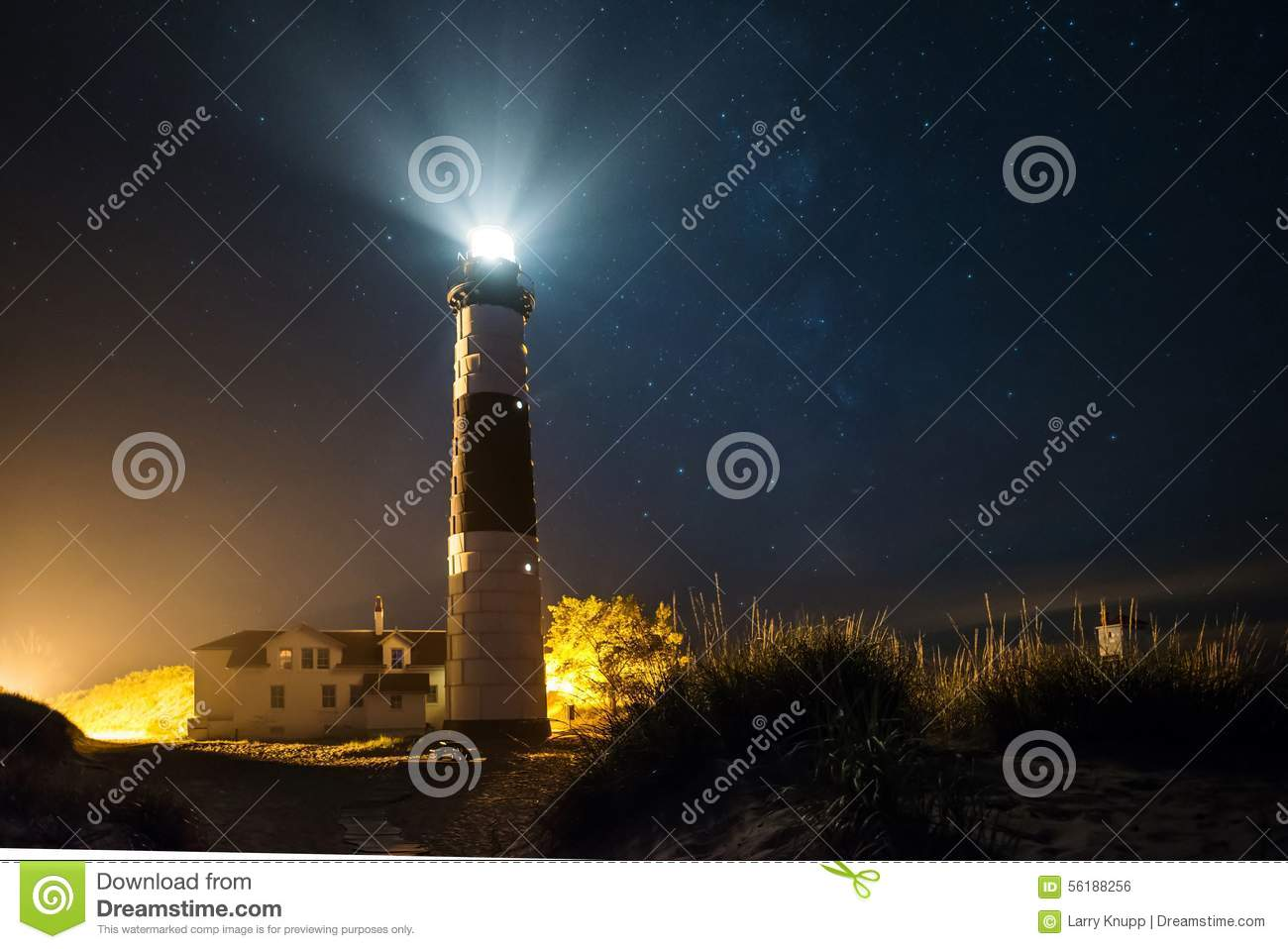 Big Sable Lighthouse At Night With Stars Stock Photo ...