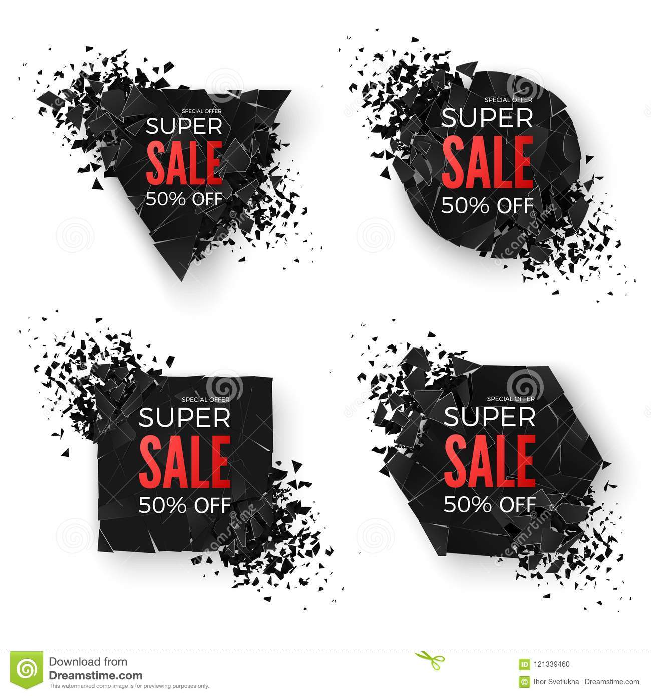 big sale banner explode geometric shapes banners special offer