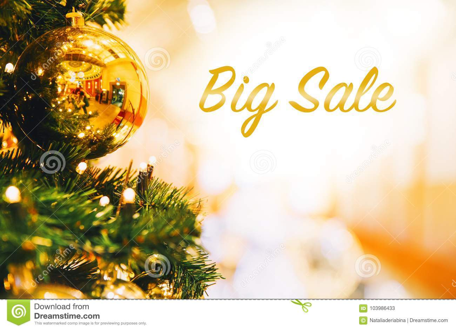 Big Sale. Christmas Gold Balls Stock Image - Image of europe, blurry ...