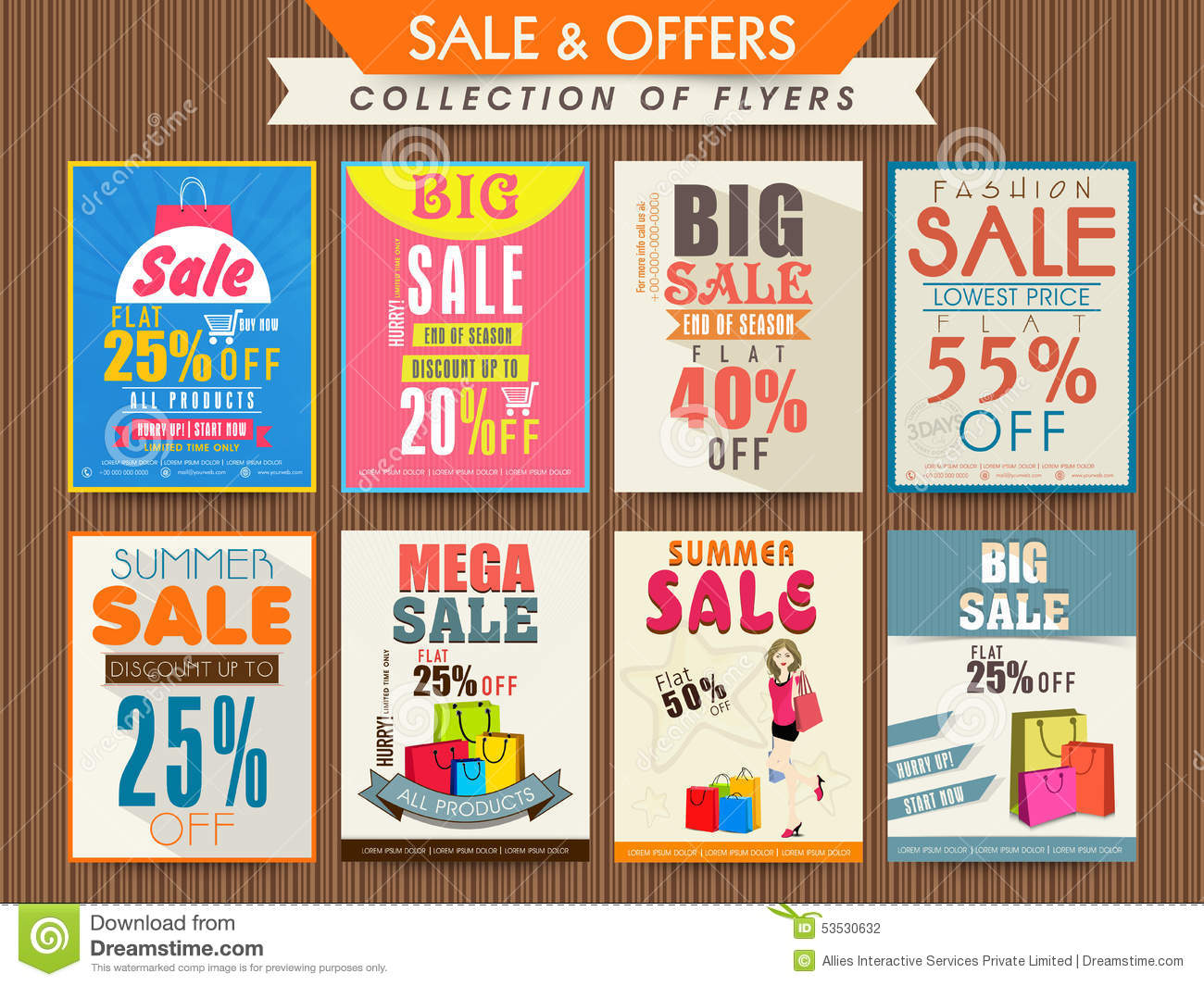 Collection Of Sale Flyers. Stock Illustration - Image: 51185050