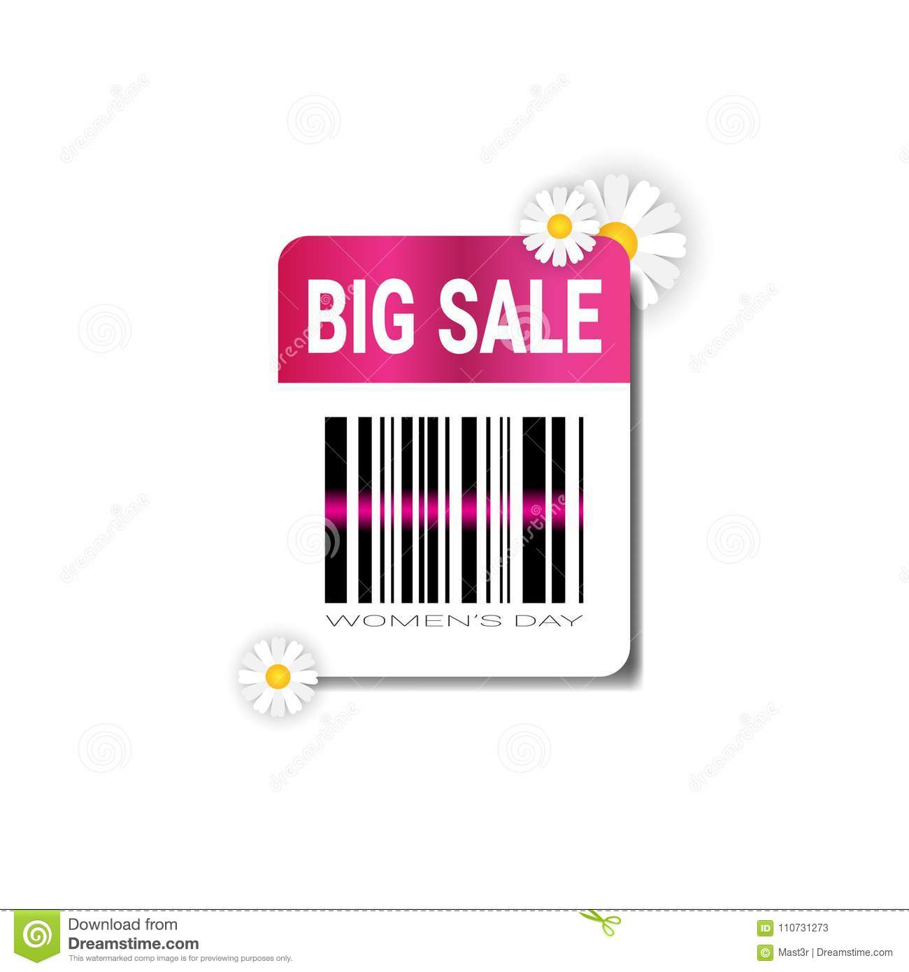 Big Sale Label With Bar Code Template International Women Day Discount Concept Promotion Sticker