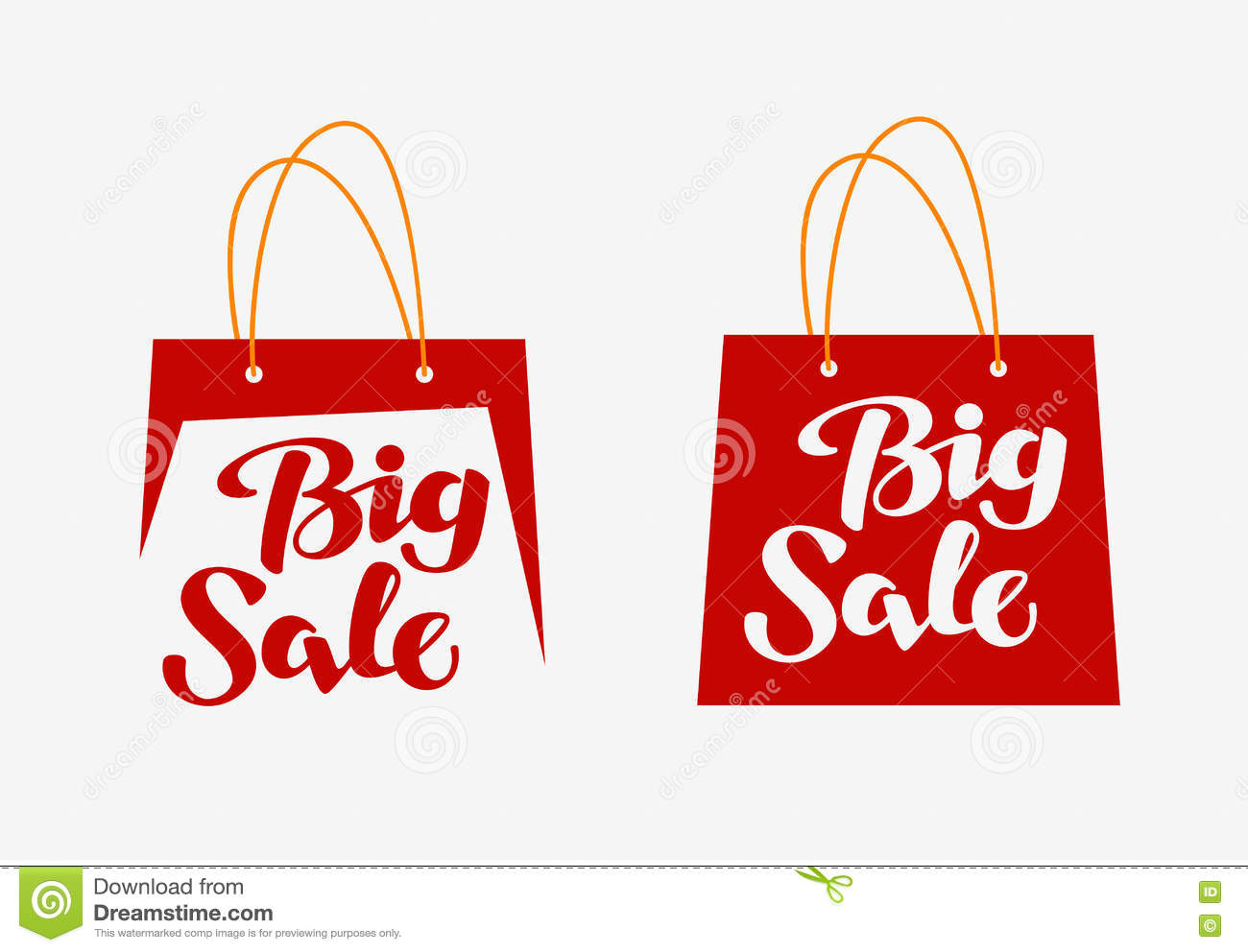 Big Sale Logo. Inscription Written On Shopping Bag. Vector ...