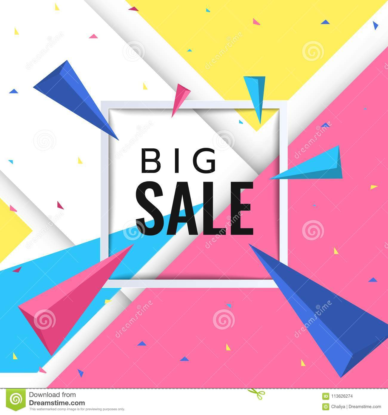 Big Sale Paper Banner Template Design With Confetti For The Cover Book