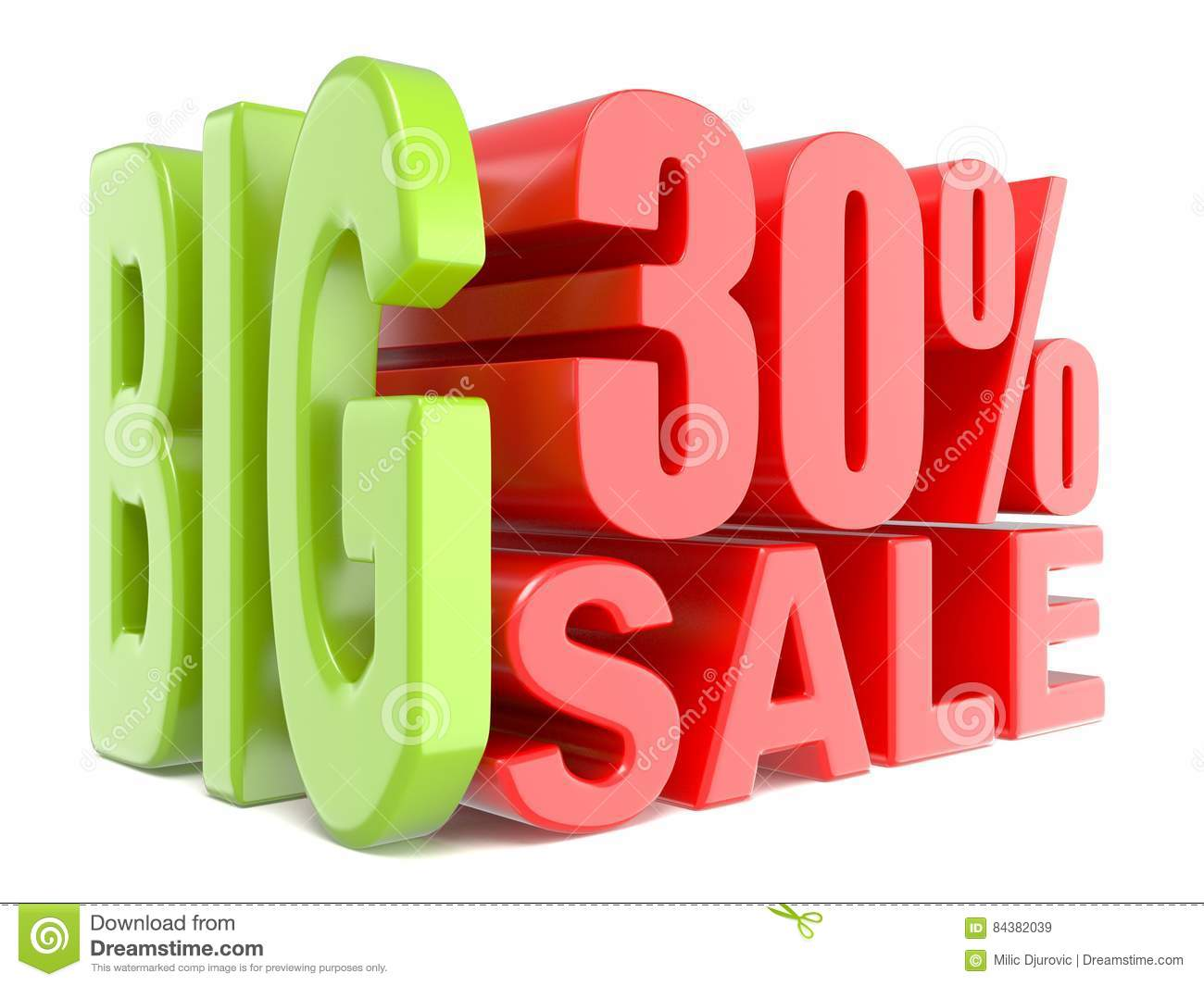 big sale and percent 30 3d words sign stock illustration