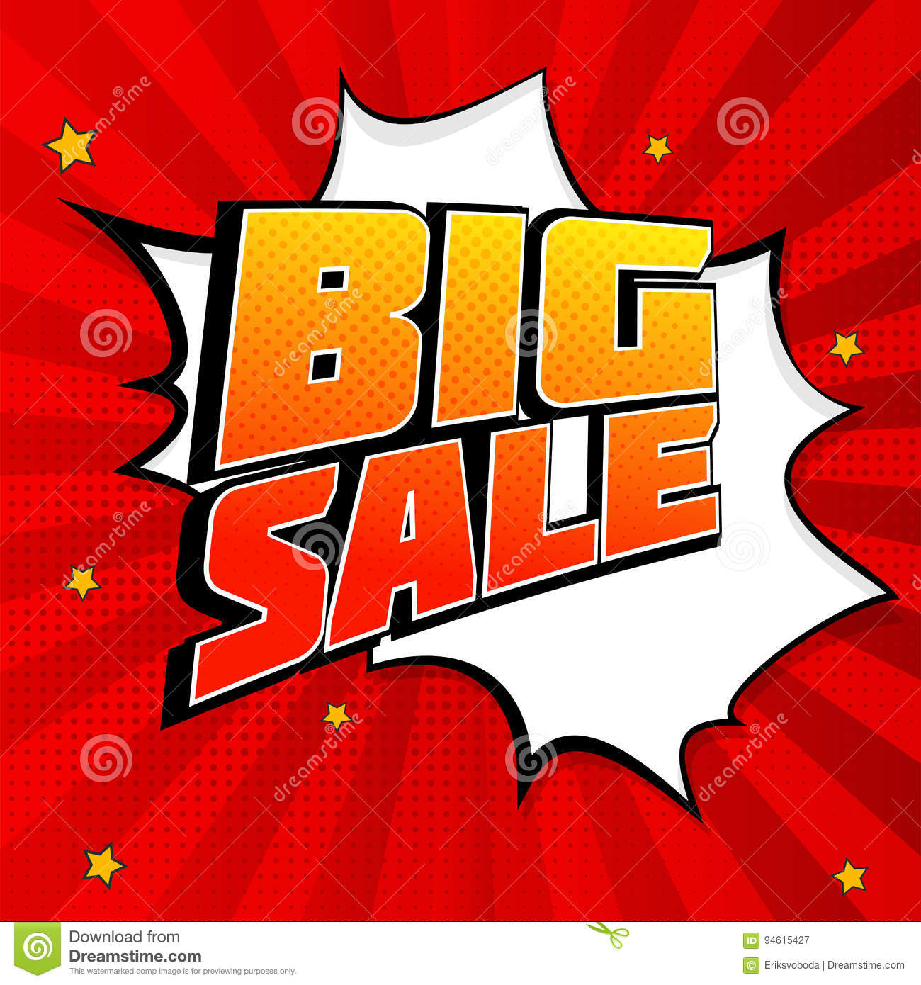 Big sale pop art splash background, explosion in comics book style. Advertising signboard, price reduction, sale with