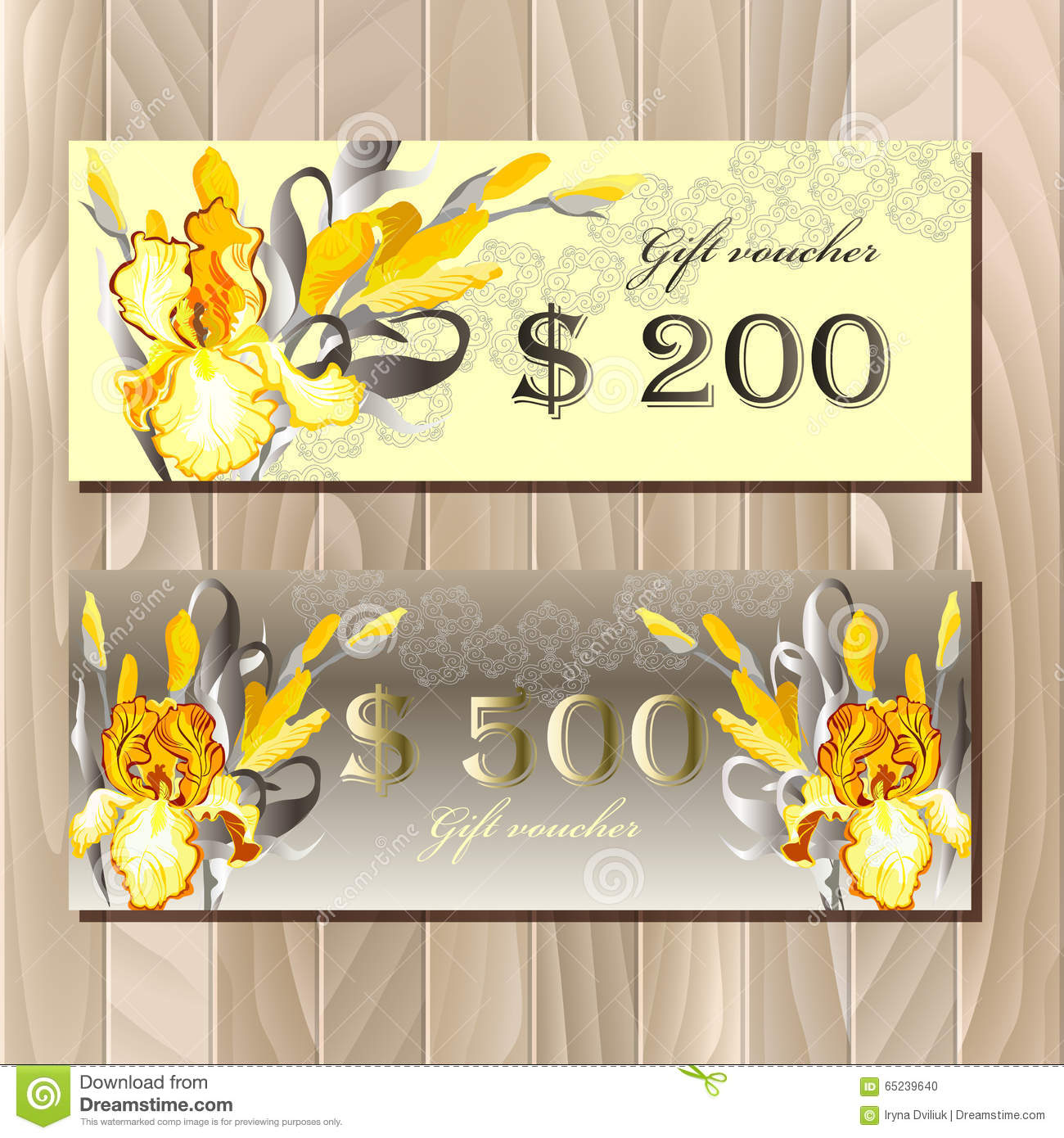 big sale printable card template with iris flowers stock vector