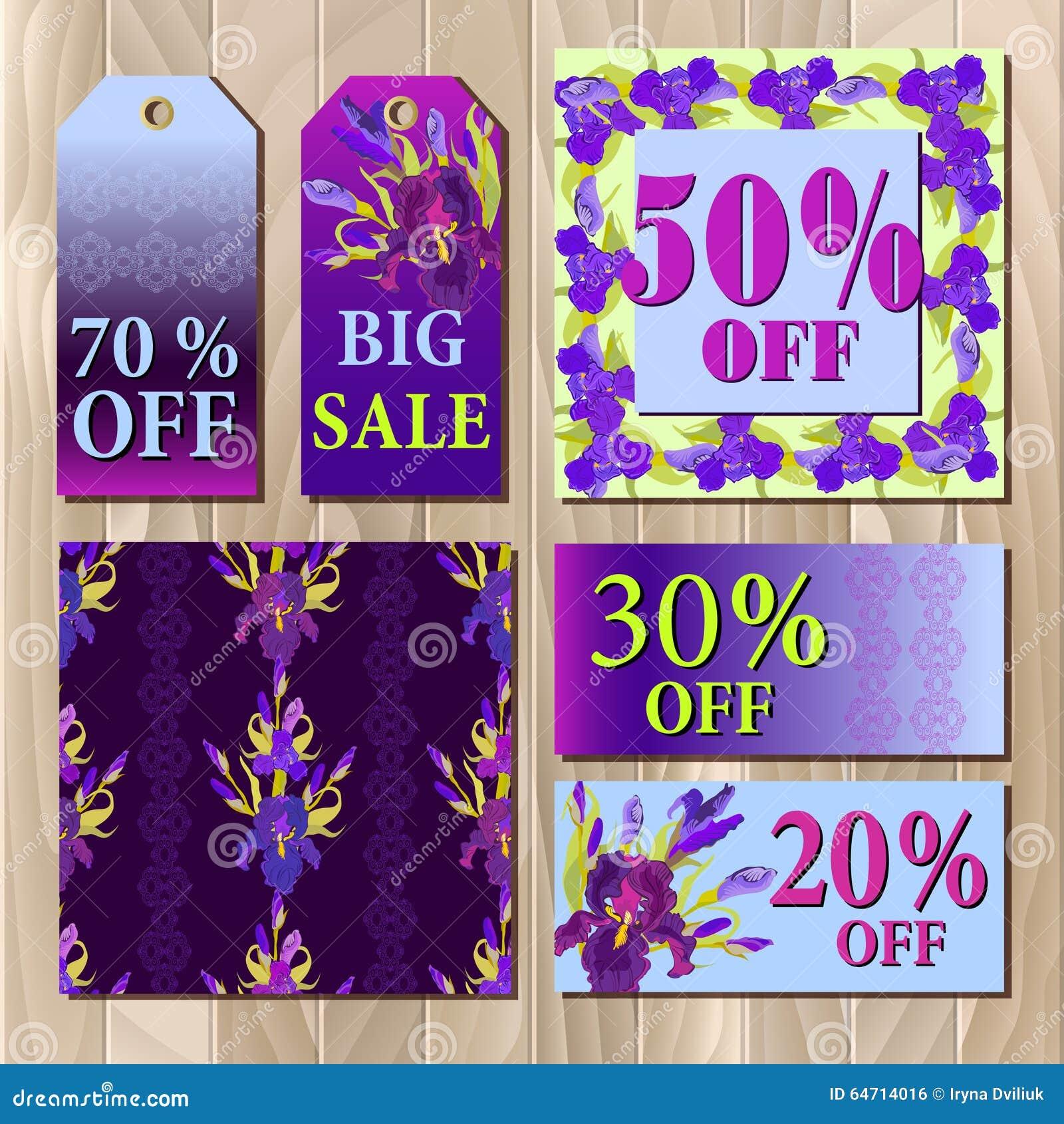 Big Sale Printable Card Template With Purple Iris Flower Design